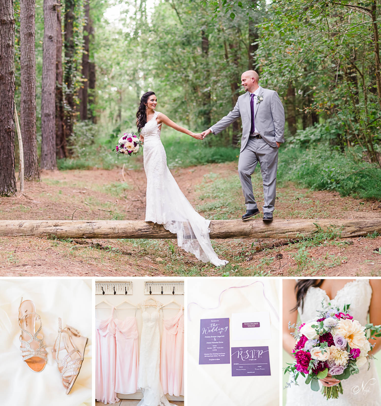 Bride and groom walking across forest bridge at Hiwassee River Weddings and wedding shoes, dresses, invitations and flowers