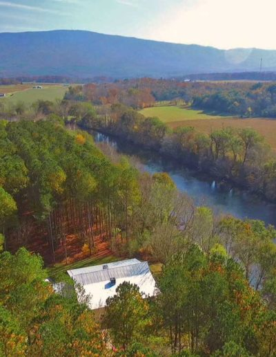 drone view of hiwassee river weddings in the fall